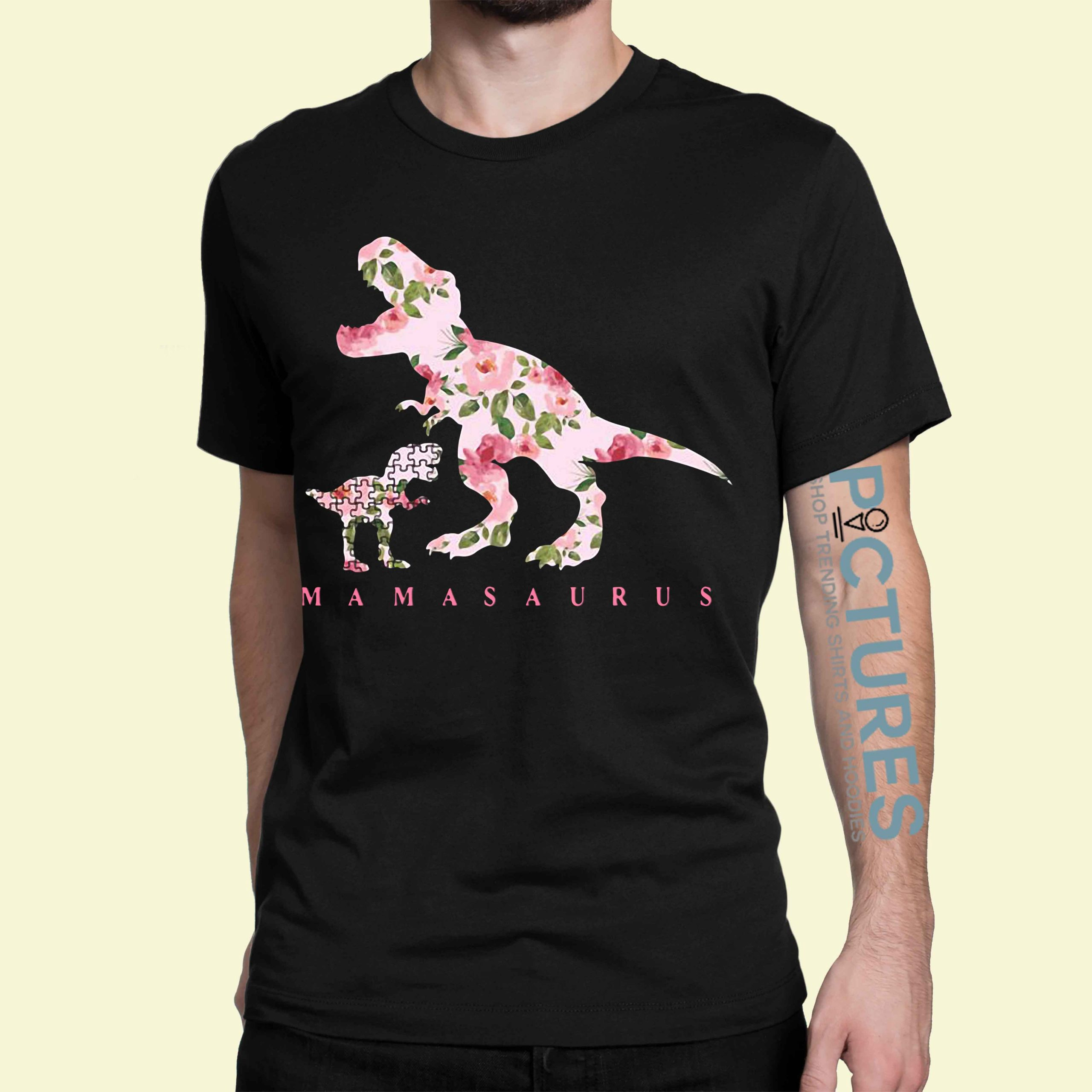 Autism Mamasaurus floral shirt