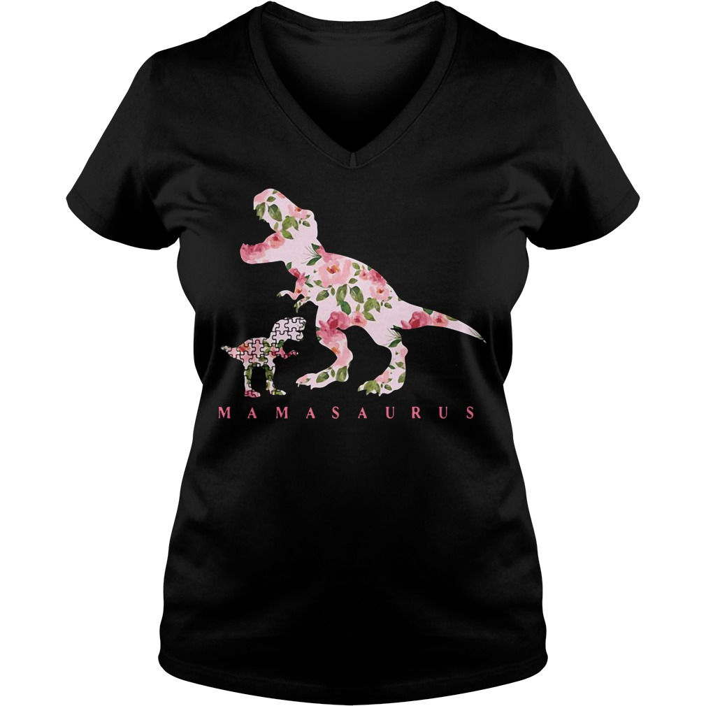 Autism Mamasaurus floral V-neck