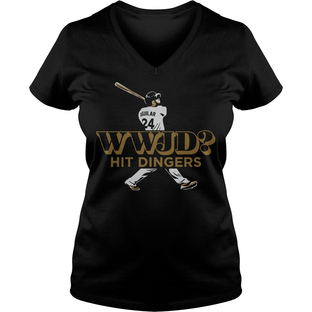 Jesus Aguilar WWJD hit dinger V-neck t-shirt