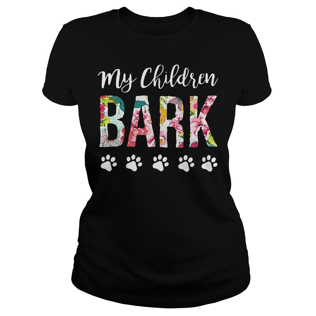 Official My children BARK dog Ladies tee