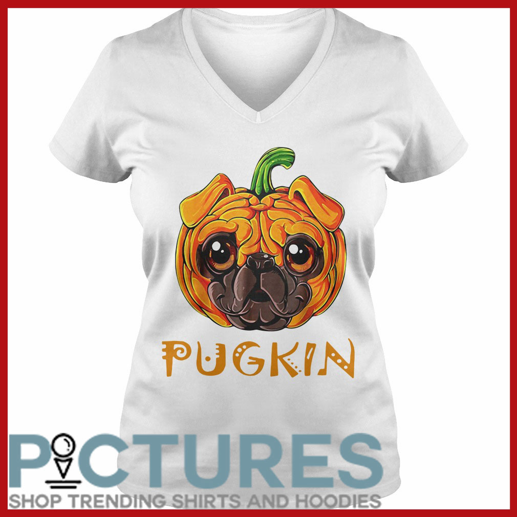 Pugkin Pug Pumpkin V-neck