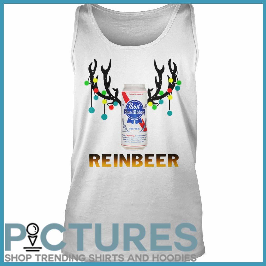 Christmas Reinbeer Pabst Blue Ribbon Light Steel tank top