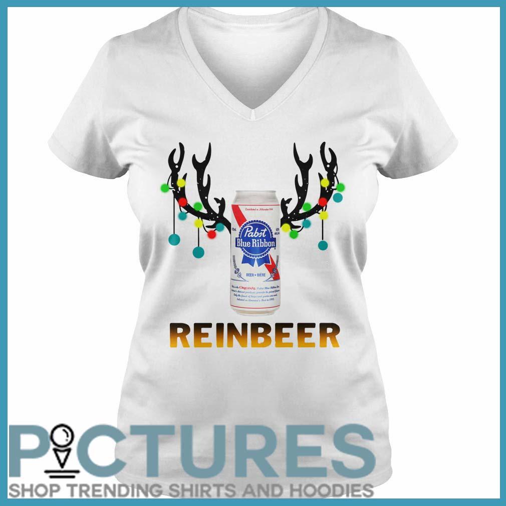 Christmas Reinbeer Pabst Blue Ribbon Light Steel v-neck