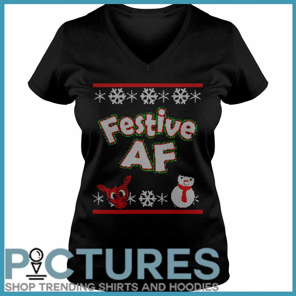 Festive AF Ugly Christmas Sweater v-neck
