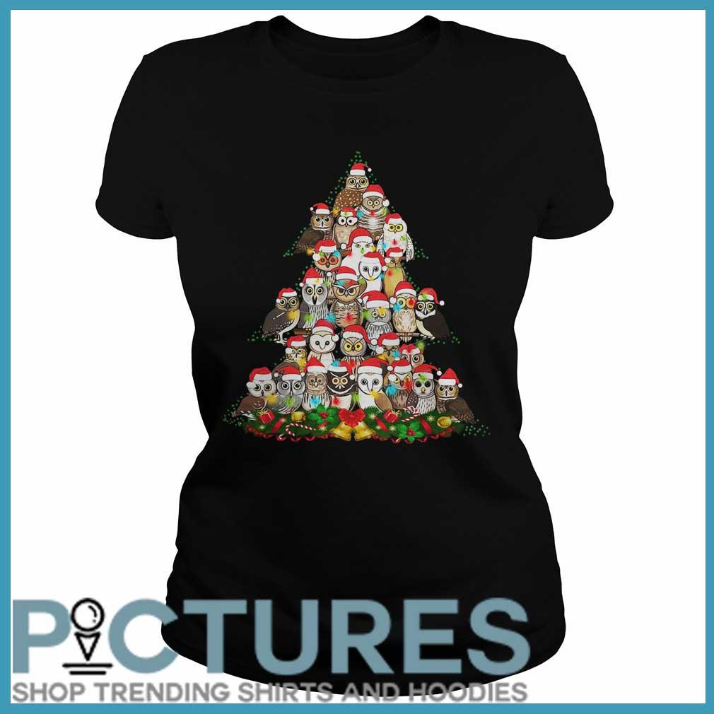 Owl Christmas tree Ladies tee