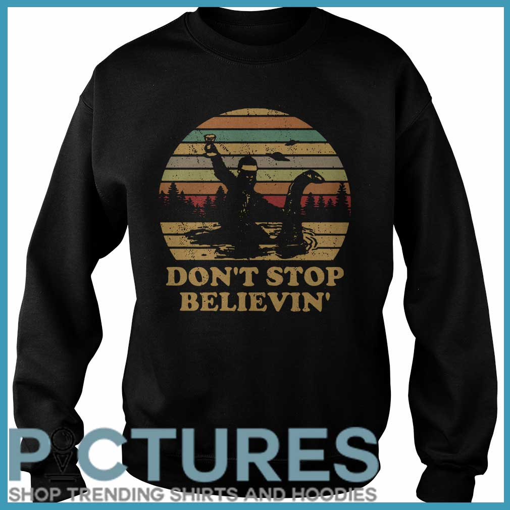 Christmas Vintage Bigfoot Santa riding on Nessie don't stop believin' Sweater