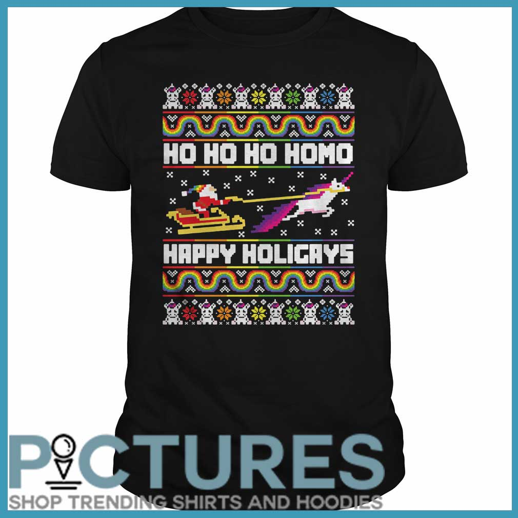 Ho Ho Ho Homo Happy Holigays Santa LGBT Guys Tee