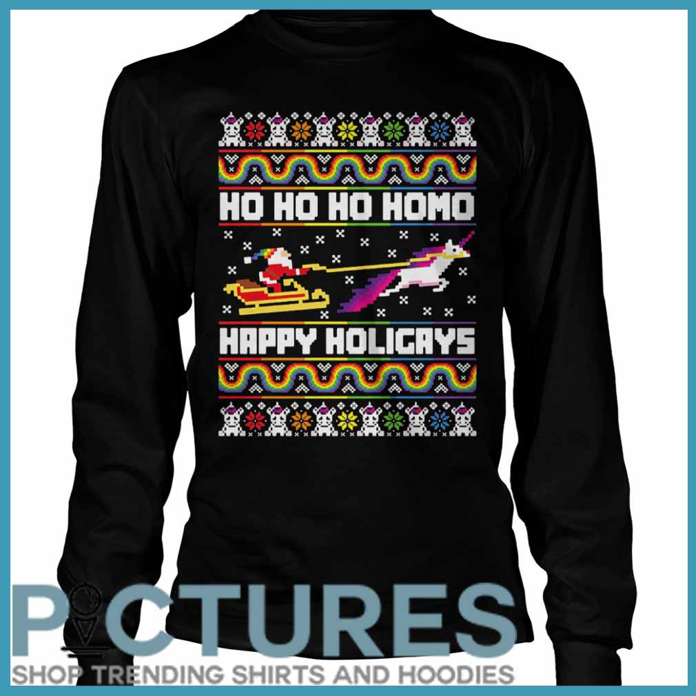 Ho Ho Ho Homo Happy Holigays Santa LGBT Long Sleeve
