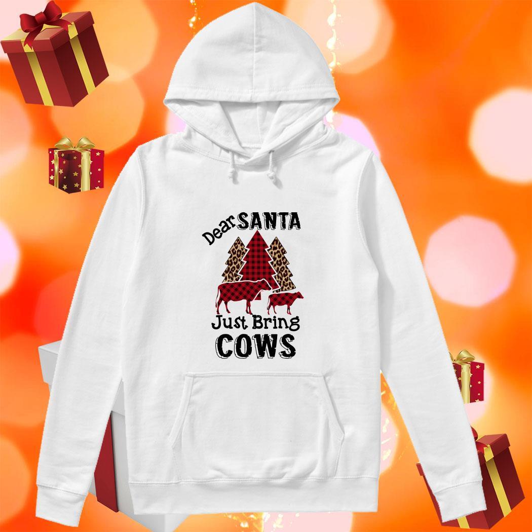 Dear Santa just bring cows tree leopard plaid hoodie