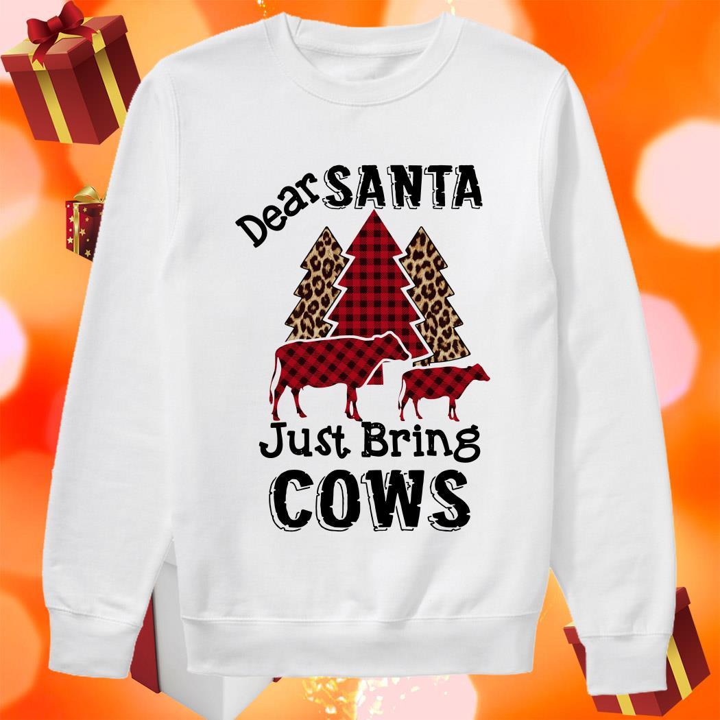 Dear Santa just bring cows tree leopard plaid sweater