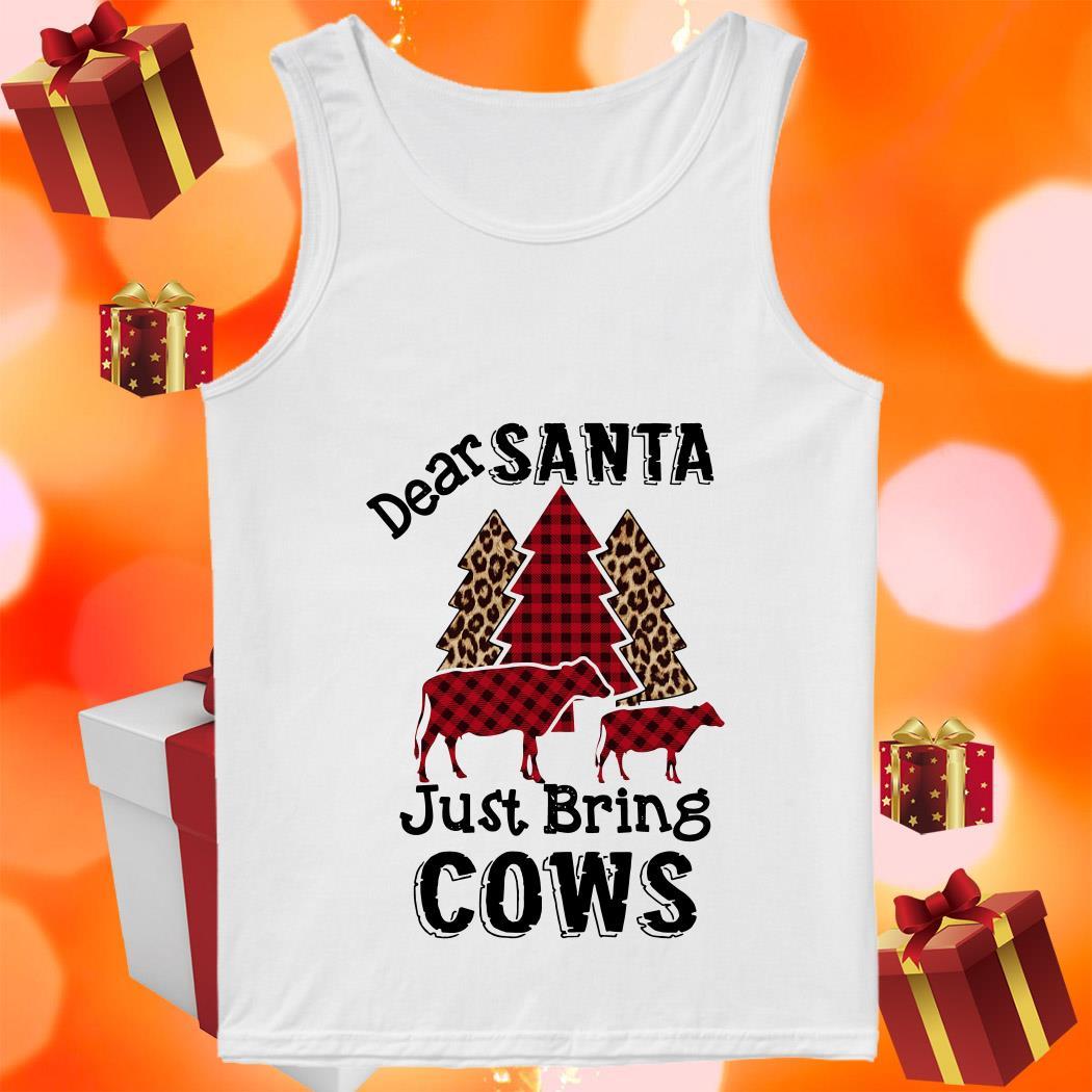 Dear Santa just bring cows tree leopard plaid tank top