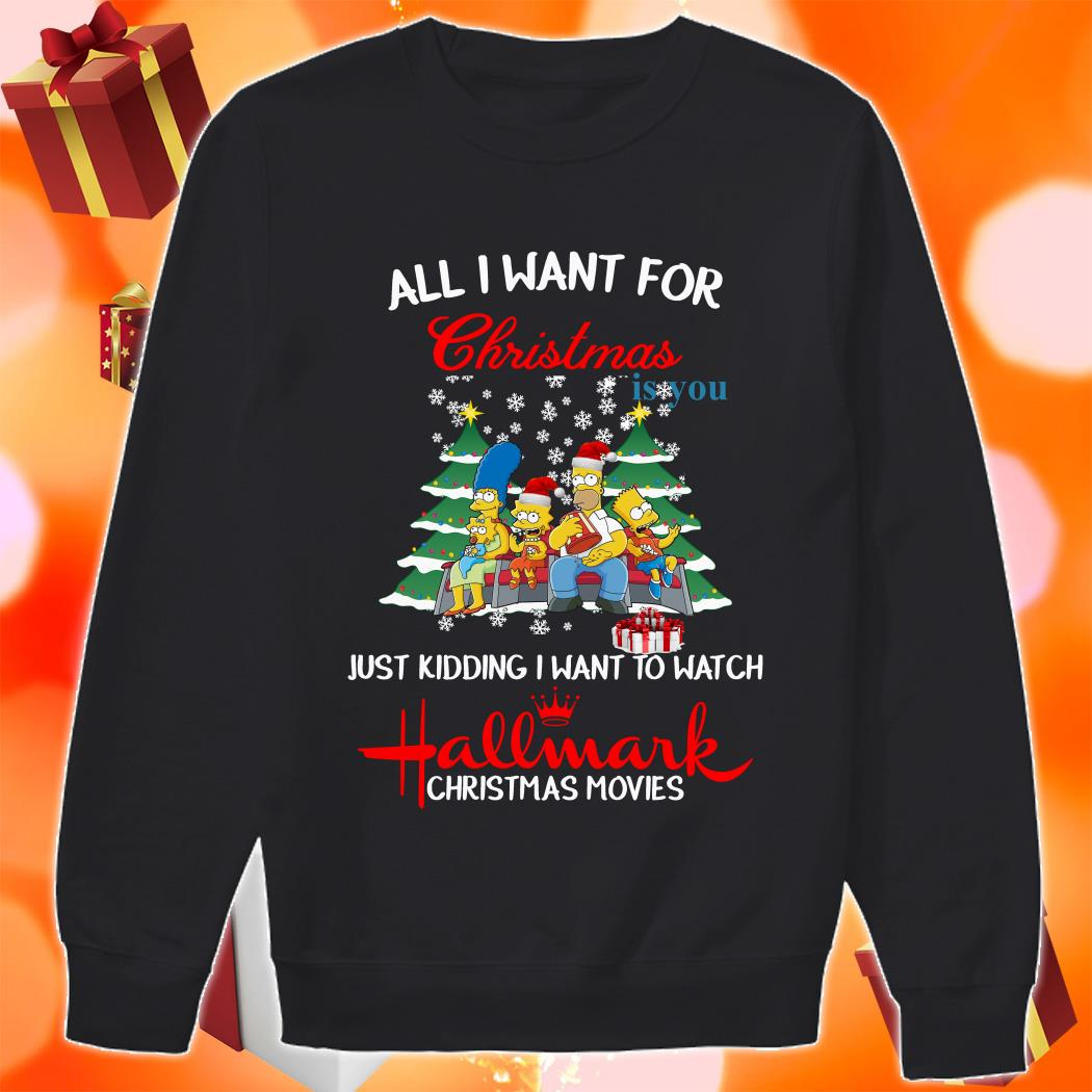 The Simpsons All I want for Christmas is you and watch Hallmark sweater