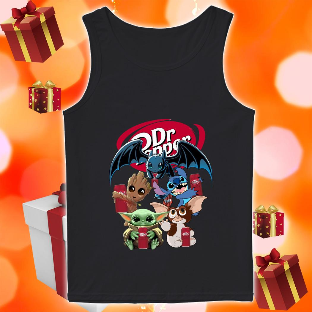 Baby Yoda Baby Groot and Toothless Stitch Gizmo hug Dr Pepper tank top