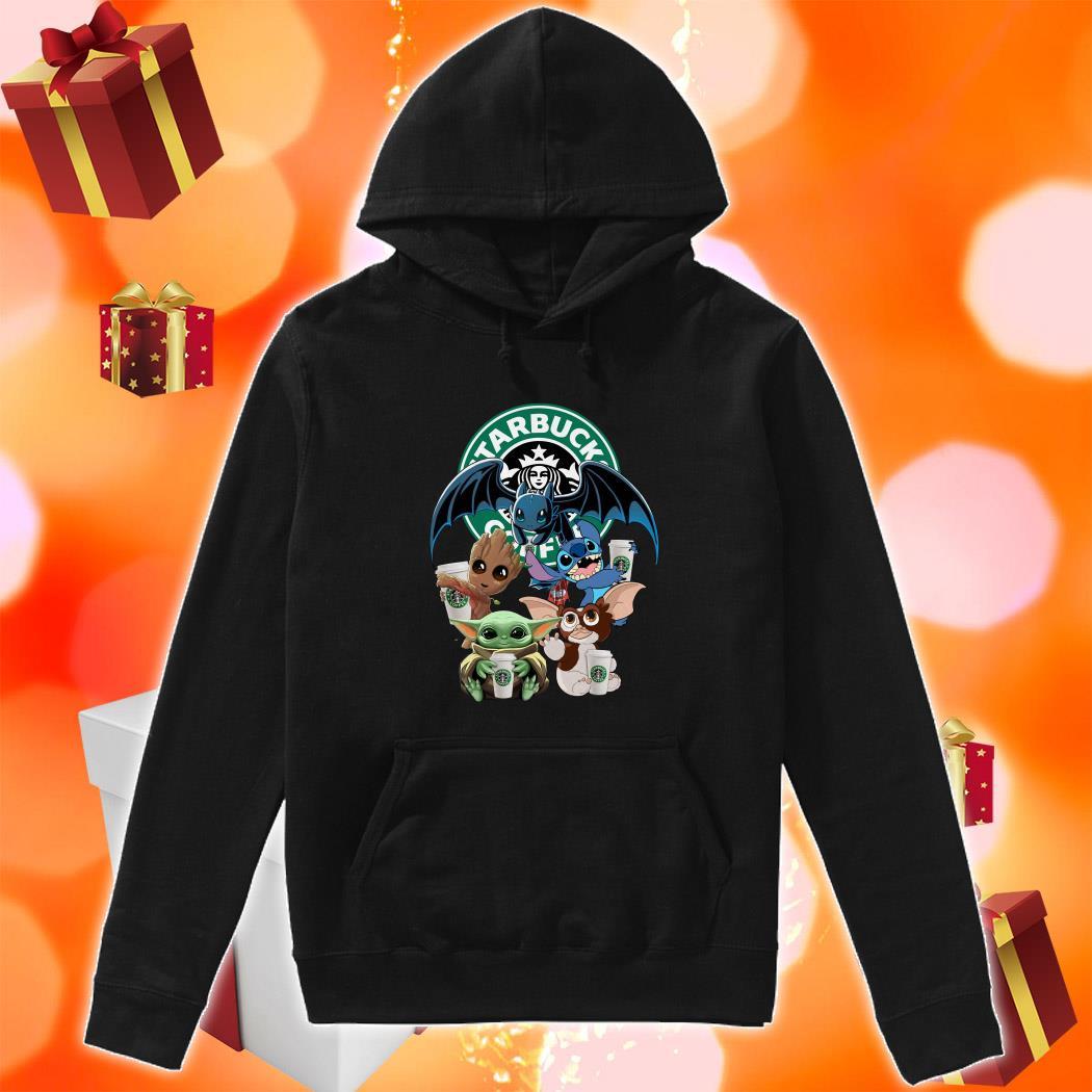 Baby Yoda Baby Groot and Toothless Stitch Gizmo hug Starbucks Coffee hoodie