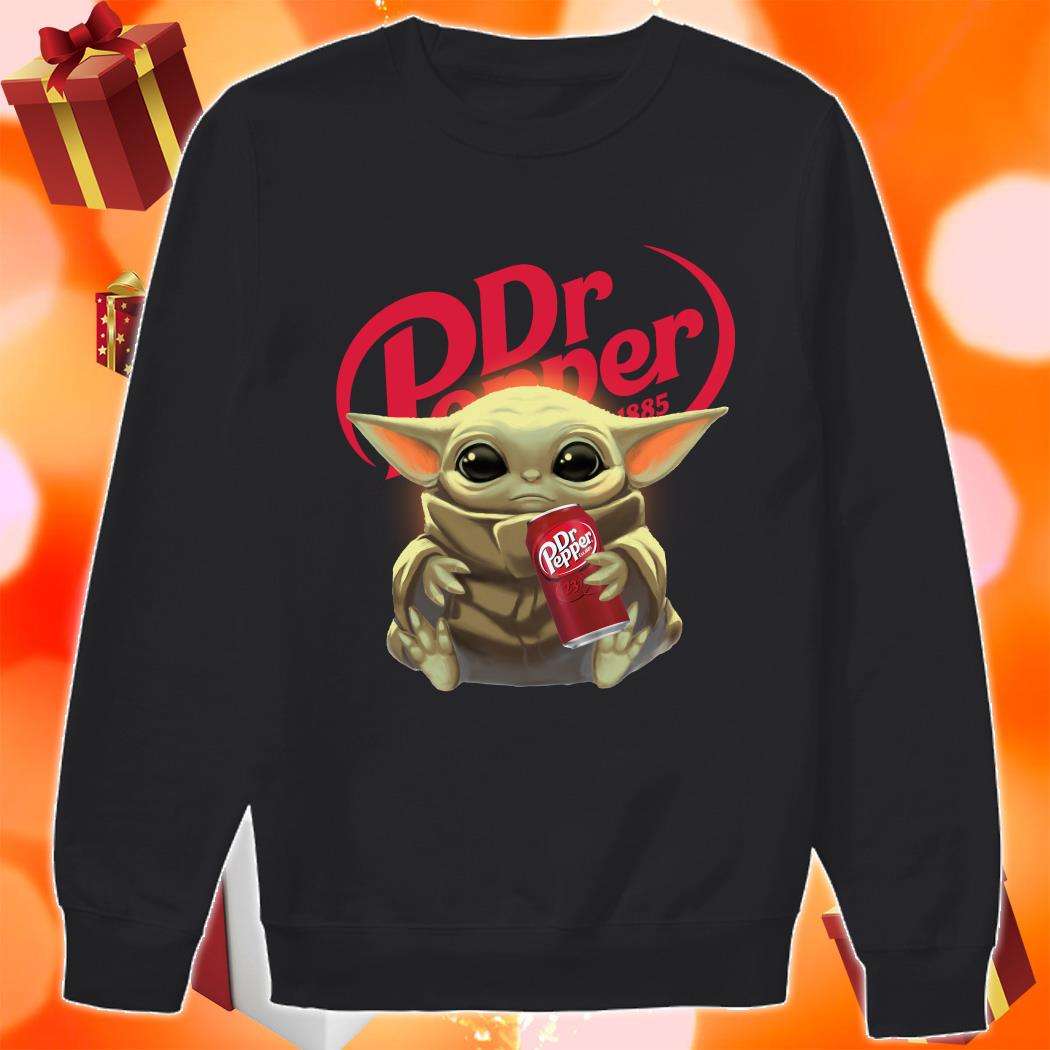 Baby Yoda hug Dr Pepper sweater