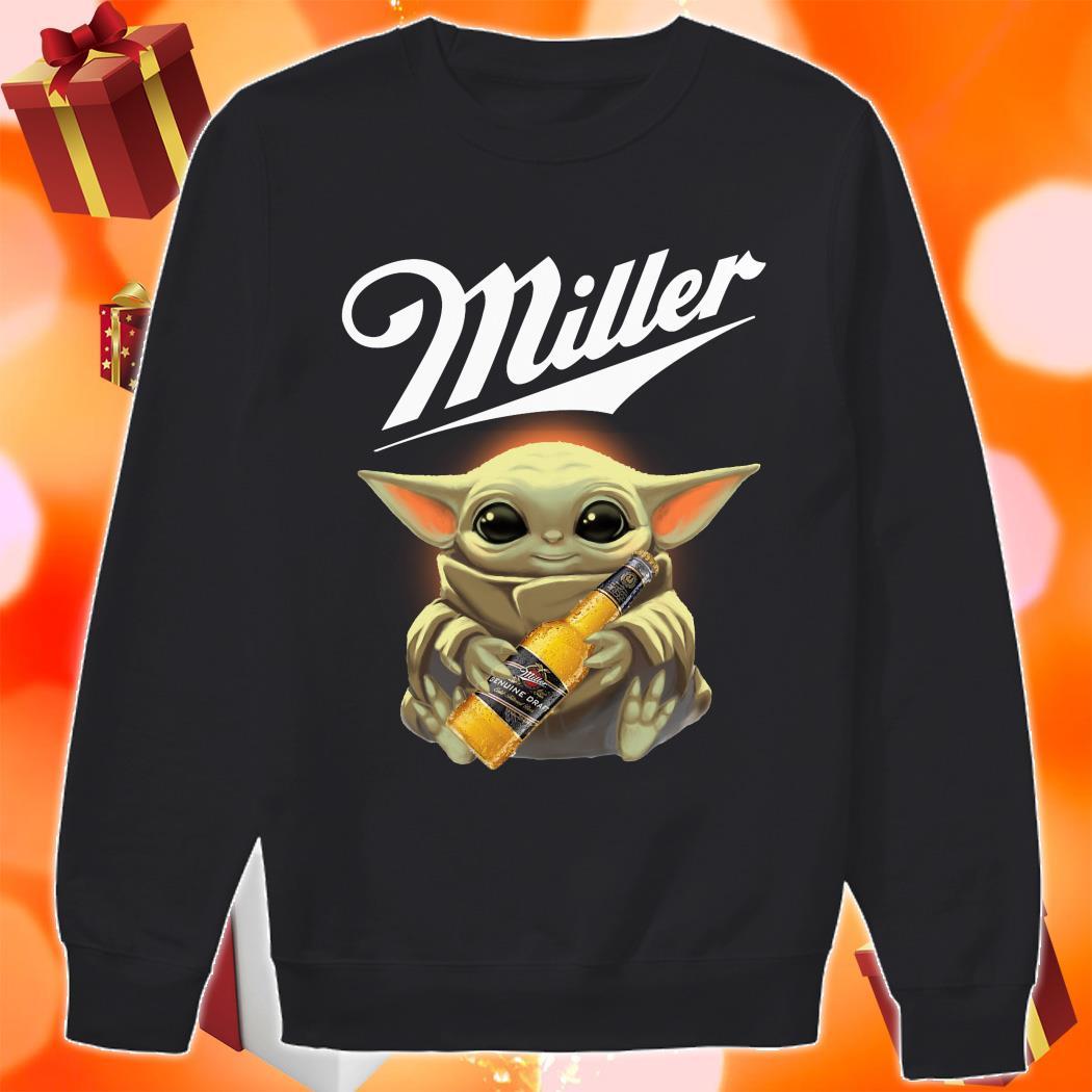 Baby Yoda hug Miller Genuine Draft sweater