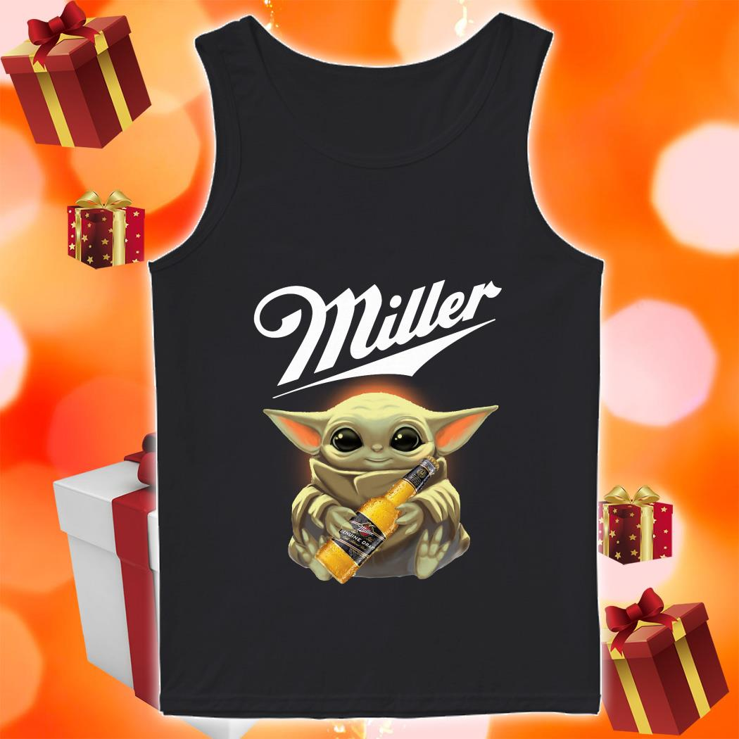 Baby Yoda hug Miller Genuine Draft tank top