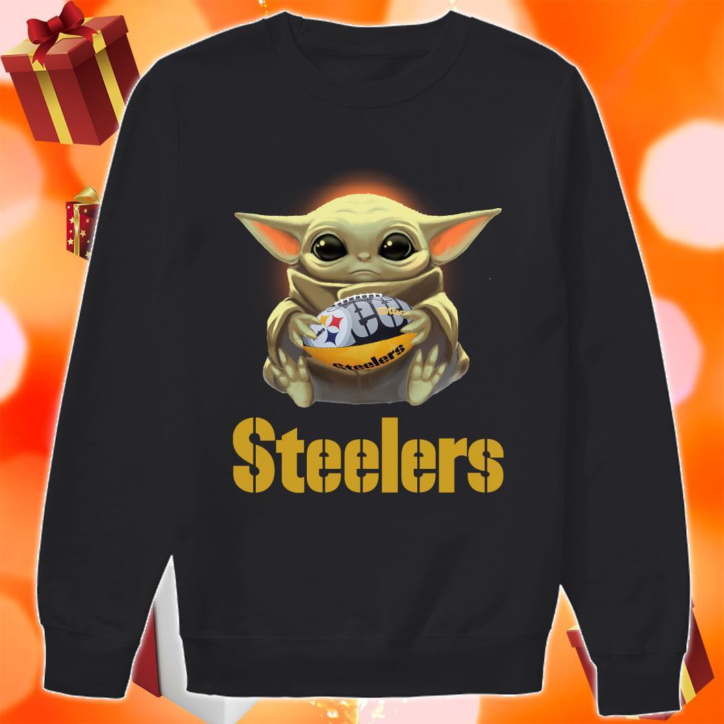 Baby Yoda hug Pittsburgh Steelers sweater