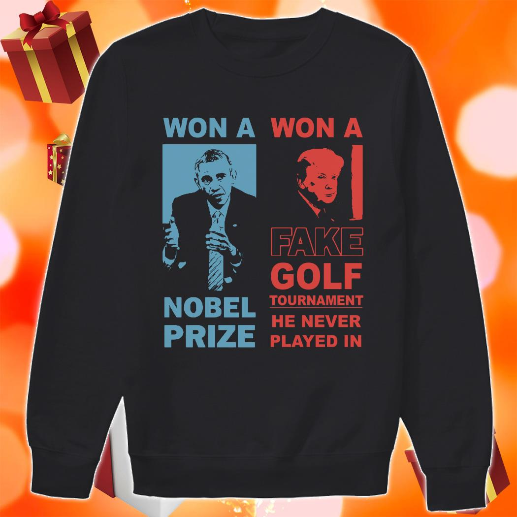 Obama and Donald Trump won a nobel prize won a fake golf tournament sweater