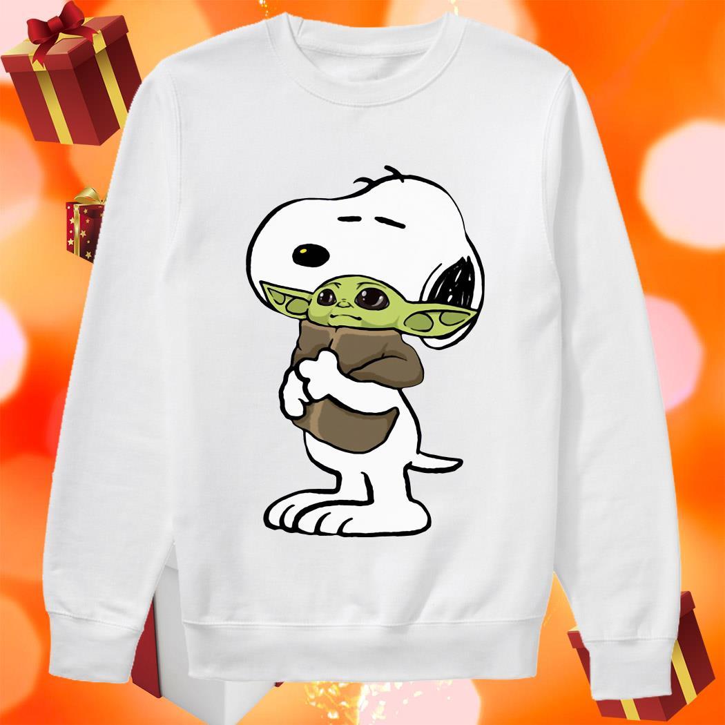 Snoopy hugging Baby Yoda sweater