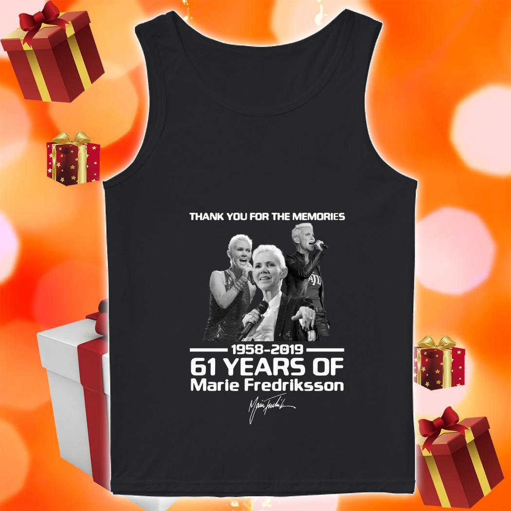 Thank you for the memories 1958 2019 61 years of Marie Fredriksson tank top