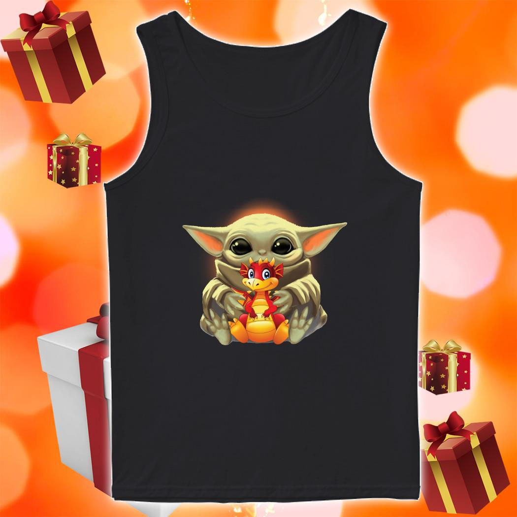 Baby Yoda hug Dragon tank top