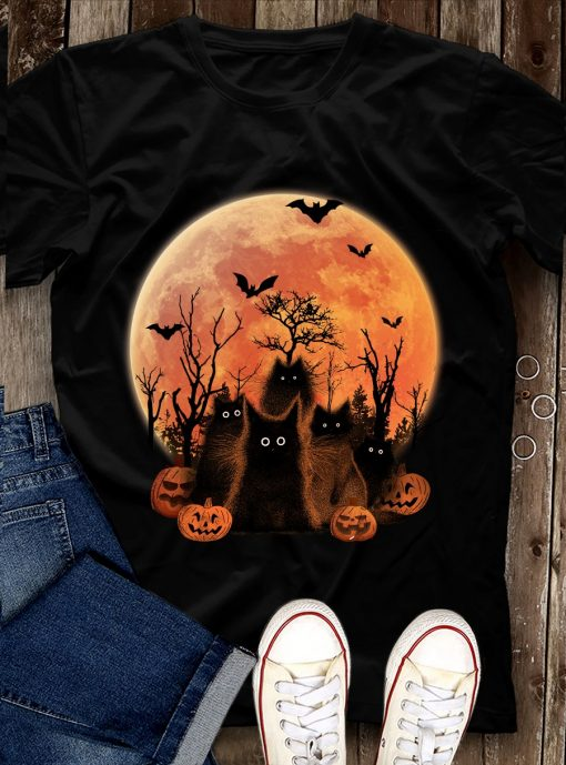 Black Cat Moon Halloween shirt 1 Picturestees Clothing - T Shirt Printing on Demand