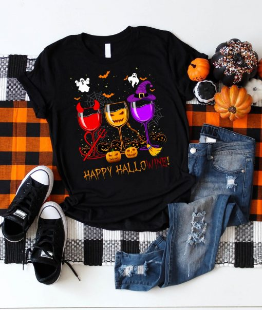 Happy Hallowine T-shirt 1 Picturestees Clothing - T Shirt Printing on Demand
