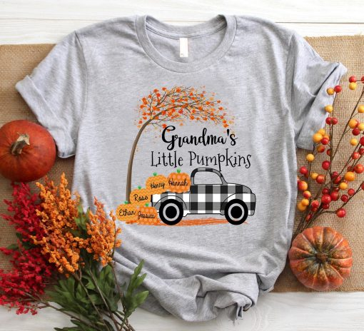 Personalized Grandma_s little pumpkins 2020 Autumn 1 Picturestees Clothing - T Shirt Printing on Demand